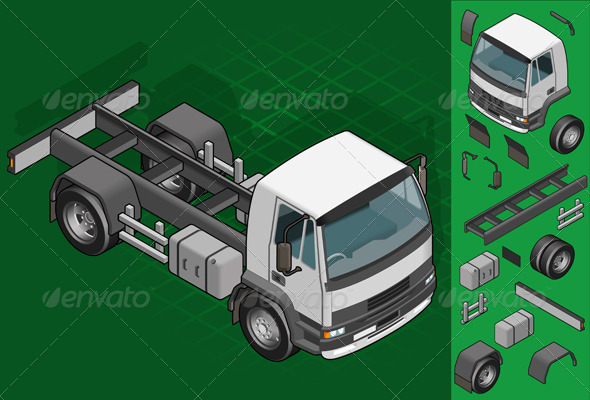GraphicRiver Isometric Truck Solo Driving 4137572