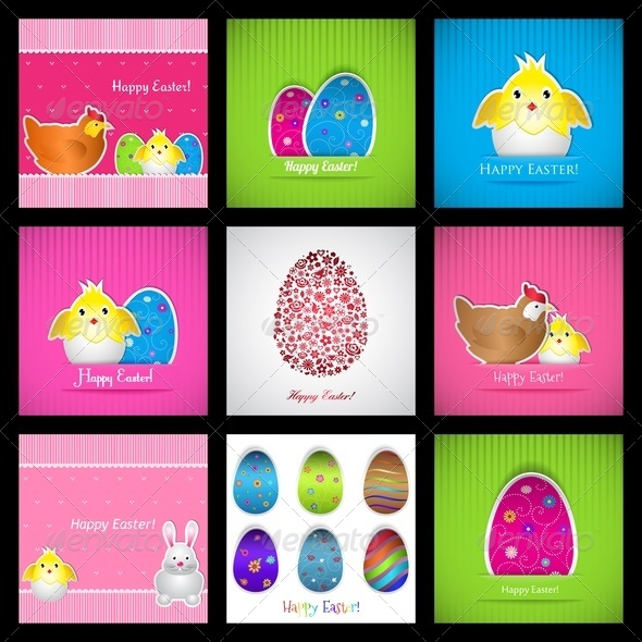 Set Of Easter Cards - Miscellaneous Seasons/Holidays