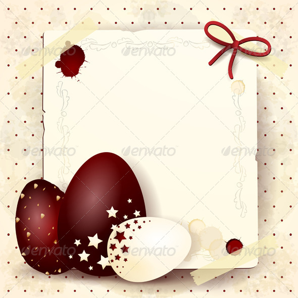 Easter Card with Chocolate Eggs - Seasons/Holidays Conceptual
