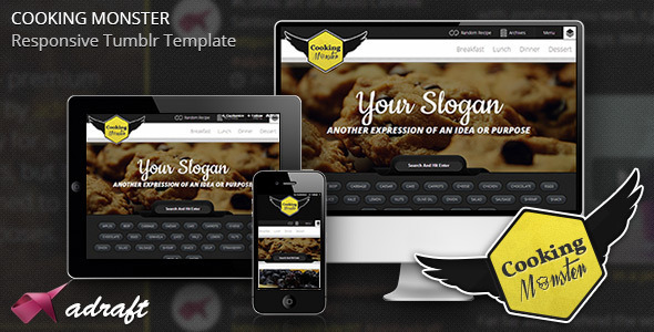 ThemeForest Cooking Monster Responsive Tumblr Theme 4234696