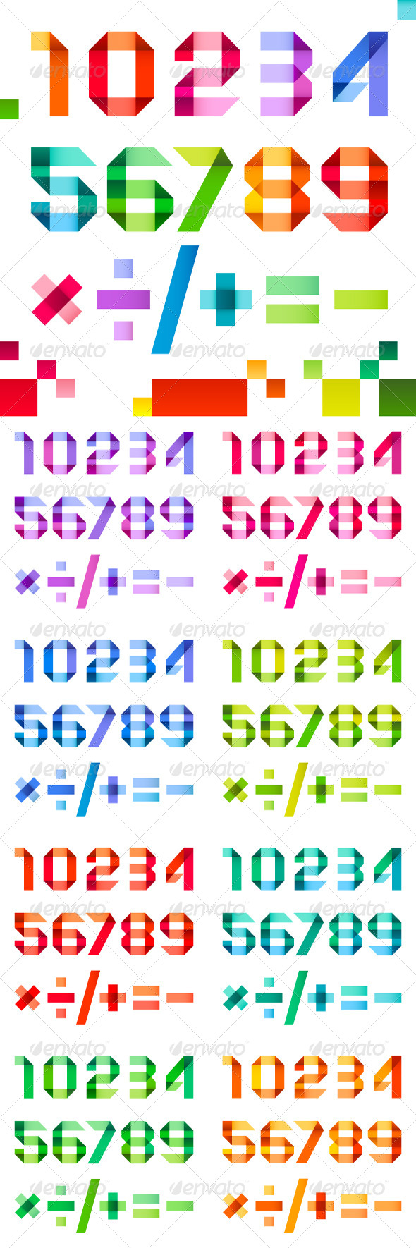 GraphicRiver Spectral Numbers Folded of Ribbon Colored Paper 4234749