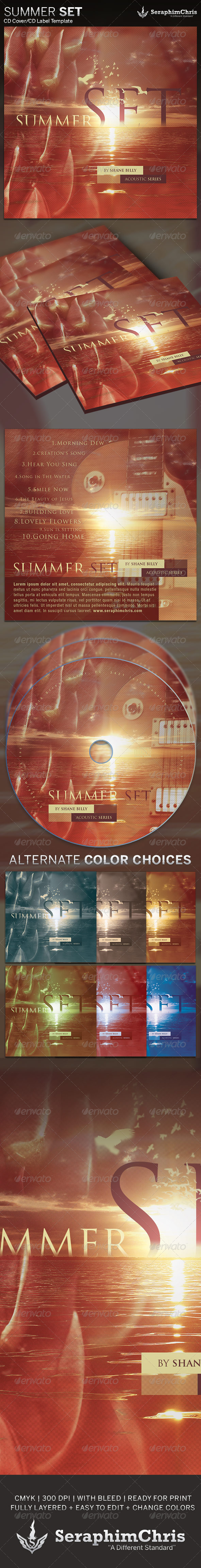 Summer Set: CD Cover Artwork Template - CD & DVD Artwork Print Templates