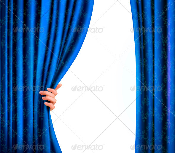 Background with blue velvet curtain and hand