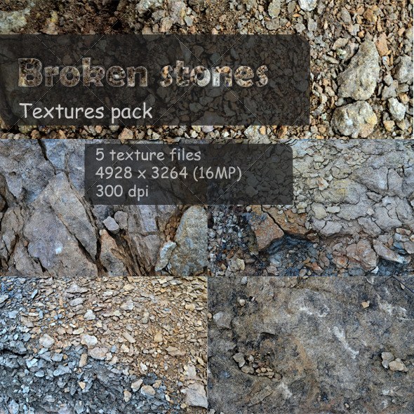 GraphicRiver 5 Broken stones textures 4235556