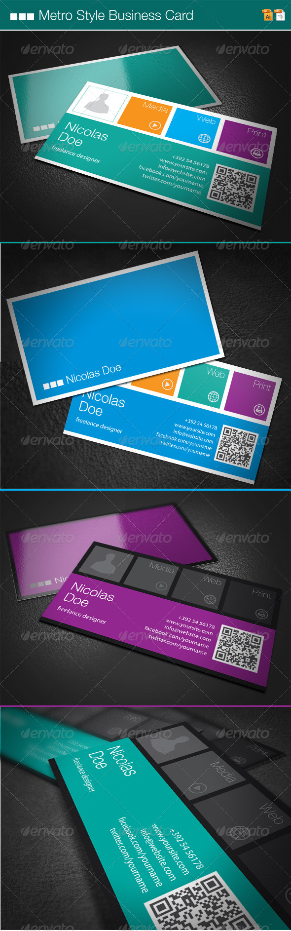 GraphicRiver Metro Style Business Card 4235793