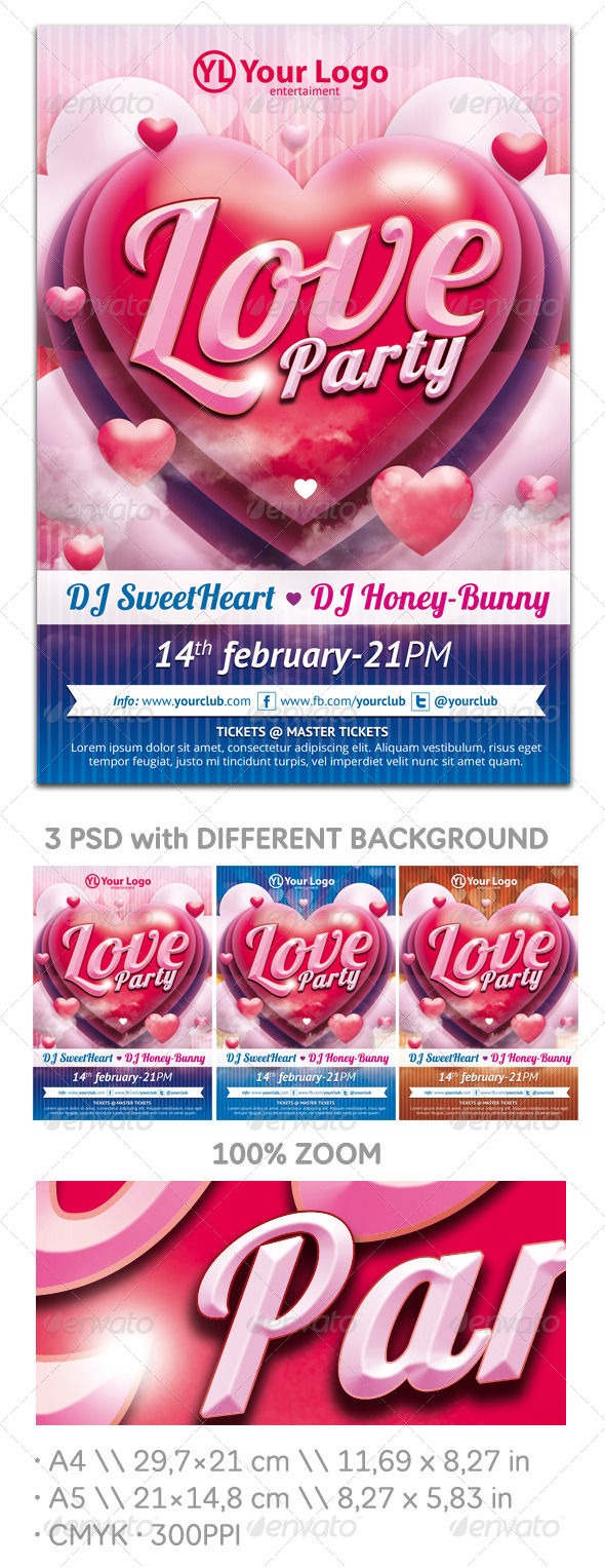 GraphicRiver Valentine s Love Party Flyer 3739193