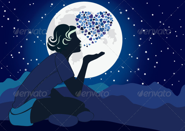 GraphicRiver Girl blowing a Kiss at Night 4142199