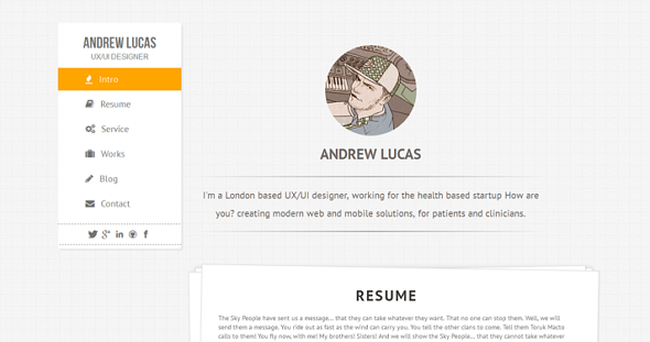 Lucas - Onepage Personal Resume/Portfolio Template - Resume / CV Specialty Pages