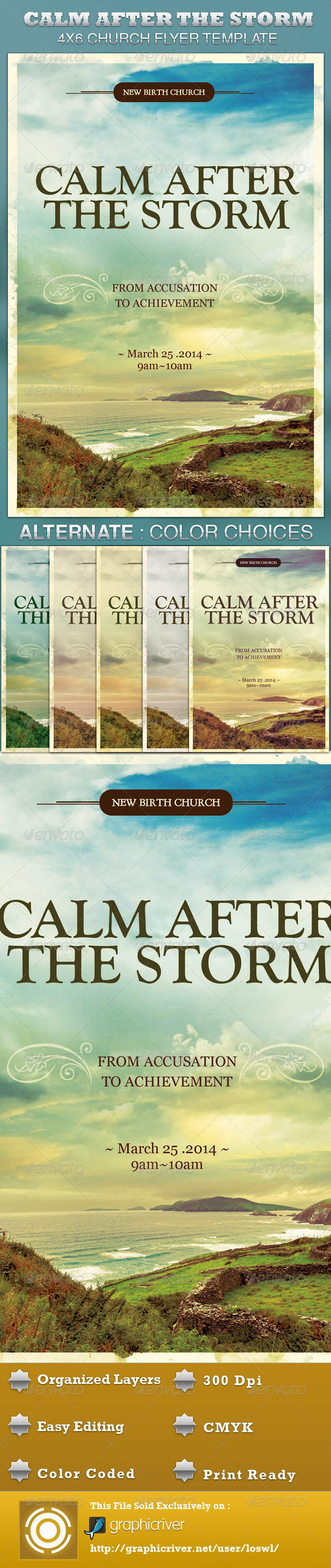 GraphicRiver Calm After the Storm Church Flyer Template 4236538