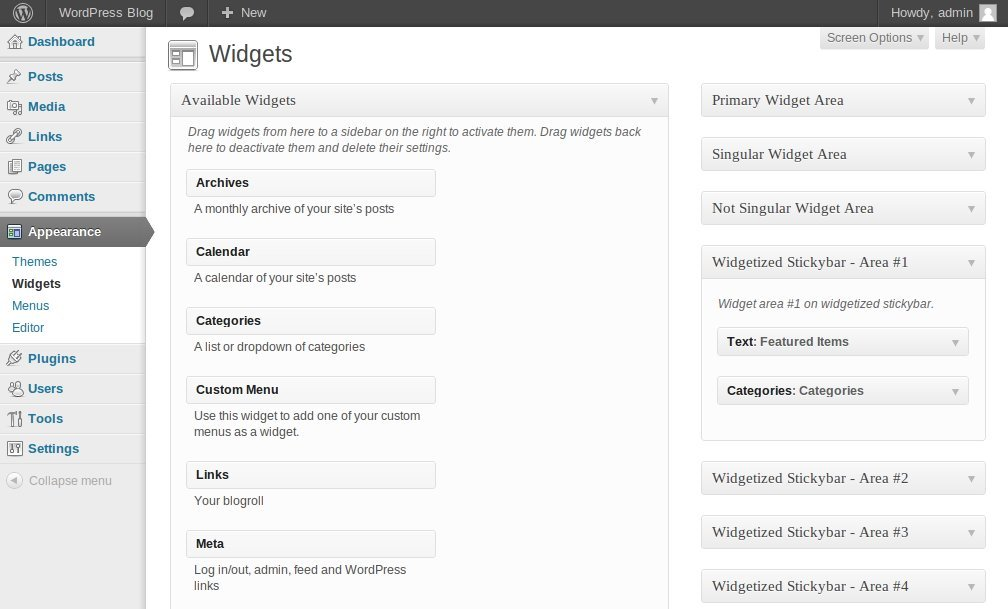 "Widget Bar for WordPress - Go to Widgets page (""Appearance >>> Widgets"") and drag and drop desired widgets into Widgetized Stickybar Area."