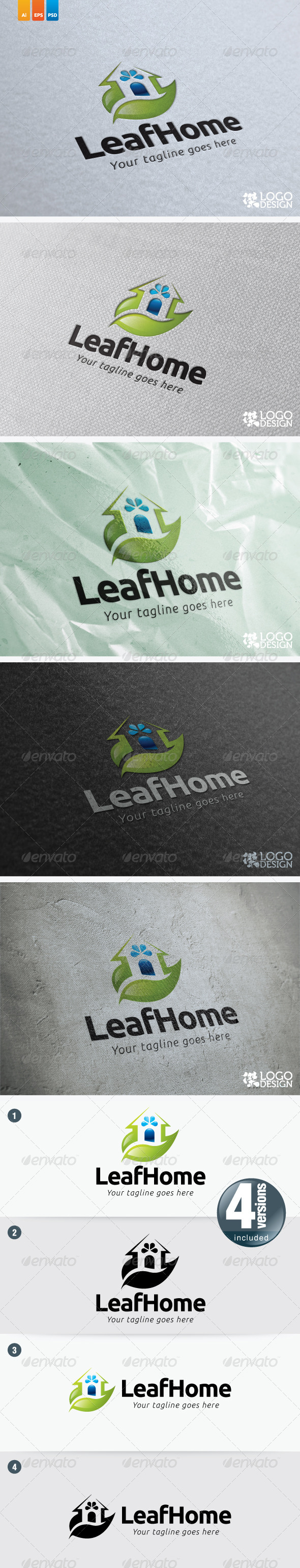 Leaf Home - Buildings Logo Templates