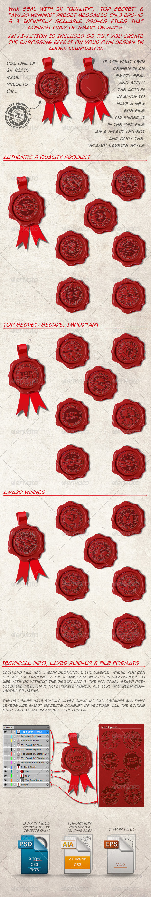 GraphicRiver 24 Wax Seals Top Secret Award Winner and Quality 4150822