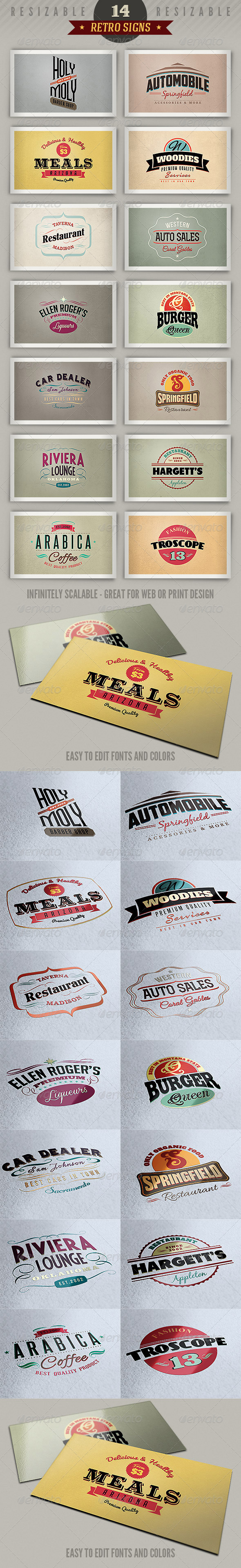 14 Retro Signs or Banners Vol.3 - Badges & Stickers Web Elements