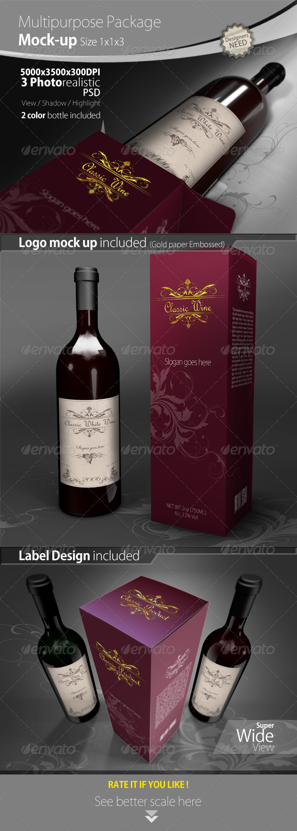 GraphicRiver Wine Package and Bottle Mock up 4239343