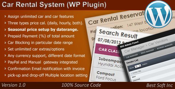 CodeCanyon Car Rental System WordPress Plugin 4239755