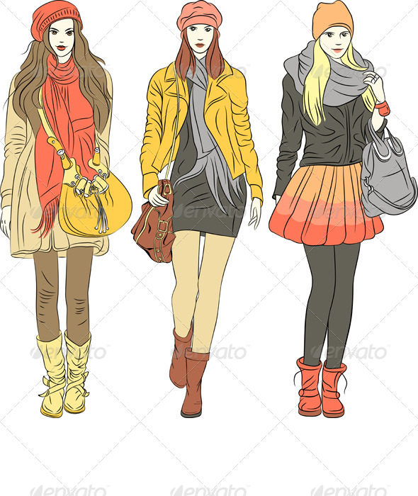 Vector Fashion Stylish Girls in Warm Clothes - People Characters