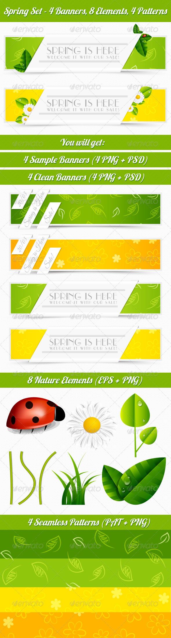 GraphicRiver Spring Banner Set 4240338