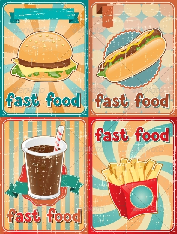 GraphicRiver Retro Backgrounds with Fast Food 4240460