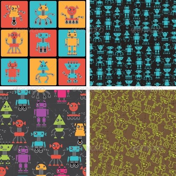 GraphicRiver Cartoon Robot Seamless Patterns 4240468