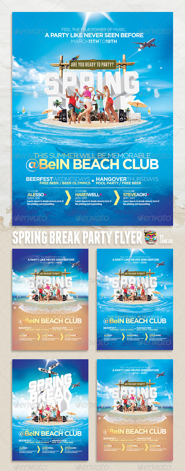 Spring Break & Summer Party Flyer - Clubs & Parties Events