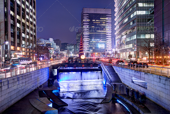 Cheonggyecheon in Seoul - Stock Photo - Images