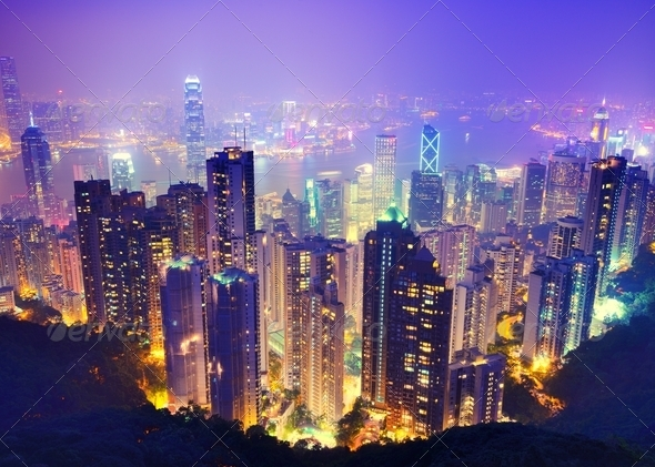 Hong Kong at Night - Stock Photo - Images