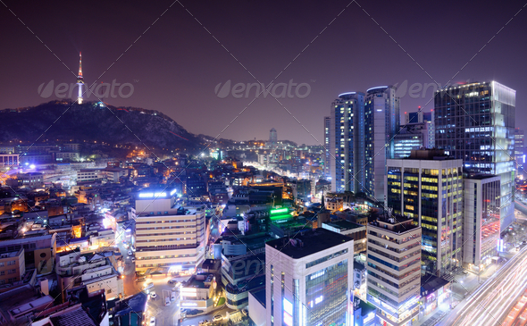 Downtown Seoul, South Korea - Stock Photo - Images