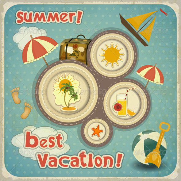 GraphicRiver Summer Vacation Card in Vintage Style 4240672