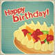 Vintage Birthday Card with Fruit Cake - GraphicRiver Item for Sale