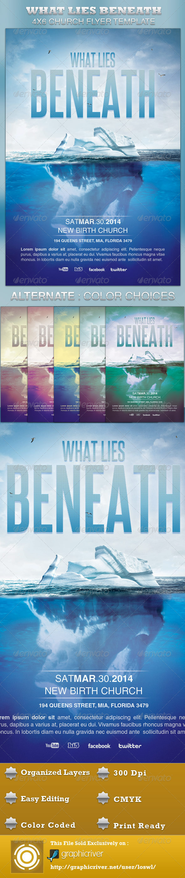 GraphicRiver What Lies Beneath Church Flyer Template 4240828