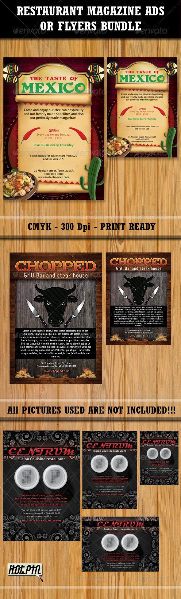 Graphic River Restaurant Magazine Ads-Flyers Bundle 2 Print Templates -  Flyers  Restaurant 459467