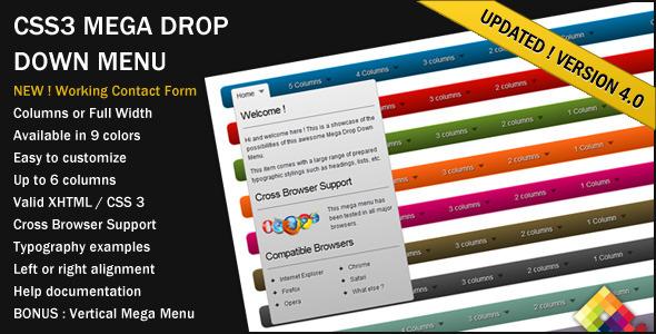 CSS3 Mega Drop Down Menu v4.0