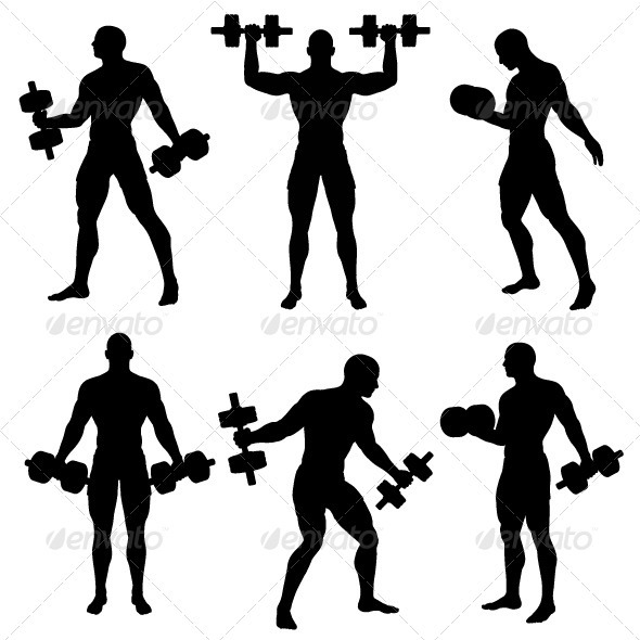 GraphicRiver Man Exercise with Weights Silhouette Pack 459514