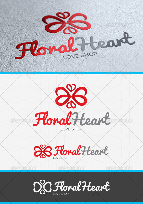 GraphicRiver Floral Heart Logo Template 4143411