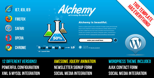 Alchemy - Under Construction Template + WP Theme - Theme preview.