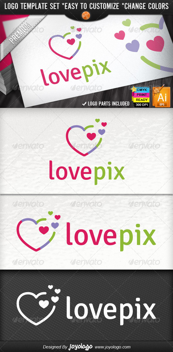 GraphicRiver Abstract Pixel Heart Logo Template 4242175