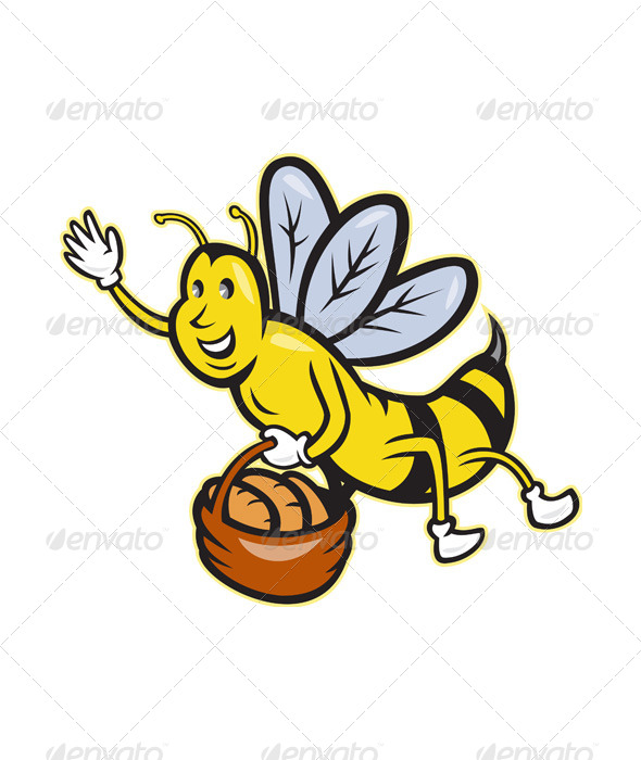 GraphicRiver Bee Carrying Basket of Bread 4243541