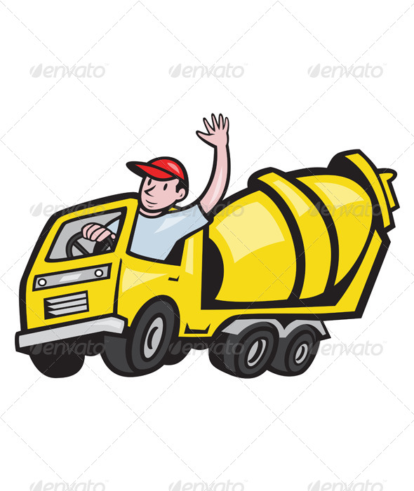 GraphicRiver Construction Worker Driving Cement Mixer Truck 4243543
