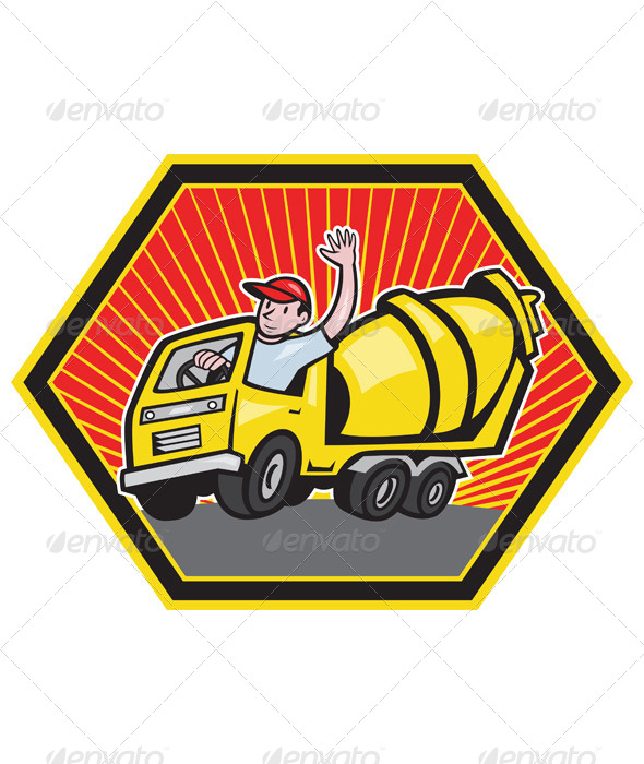 GraphicRiver Construction Worker Driving Cement Mixer Truck 4243547