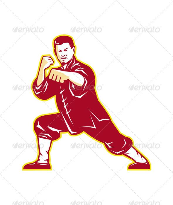 GraphicRiver Shaolin Kung Fu Martial Arts Master Retro 4243560