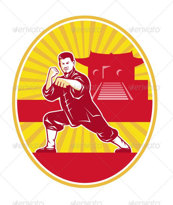 GraphicRiver Shaolin Kung Fu Martial Arts Master Retro 4243562