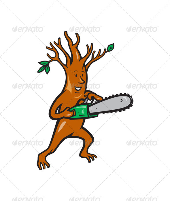 GraphicRiver Tree Man Arborist With Chainsaw 4243586