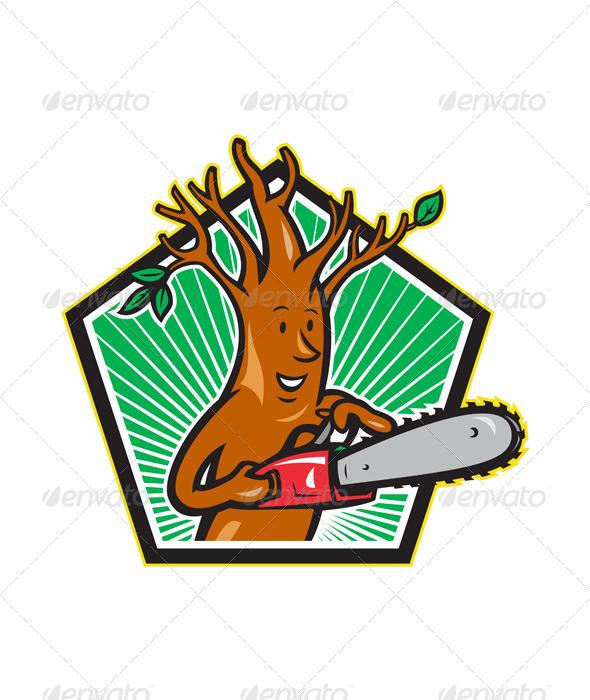 GraphicRiver Tree Man Arborist With Chainsaw 4243589