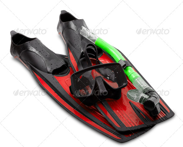 Mask, snorkel and flippers - Stock Photo - Images