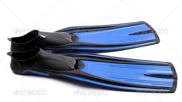 Flippers for diving on white background - Stock Photo - Images