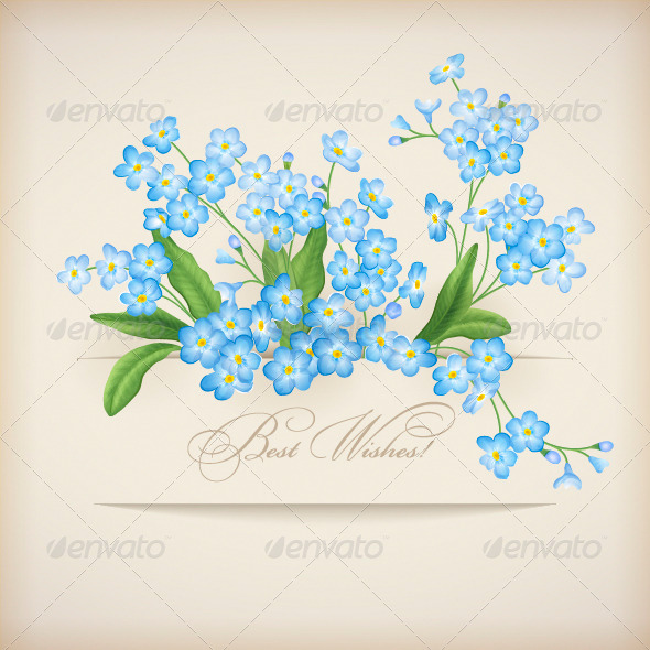 GraphicRiver Blue Spring Flowers Forget-me-not Greeting Card 4244213