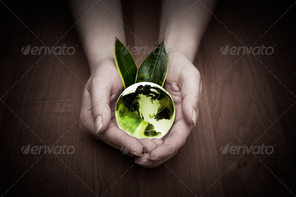 glass globe in hand - Stock Photo - Images