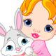 Download Vector Little girl hugging toy bunny