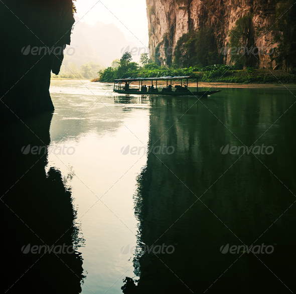 River in cave,Vietnam - Stock Photo - Images