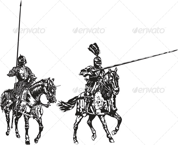 GraphicRiver Two Knights on Horses 4245646